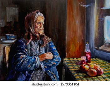 An old woman from Eastern Europe looks through a window in an old house. On the table is a rowan moonshine and apples. Painting on canvas acrylic and oil.