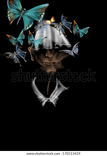 old woman face with butterflies flying around her head, over a black background, raster illustration