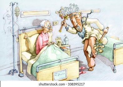 An old woman in a hospital bed watching with wide eyes dressed as a witch doctor dancing conceptual illustration clinic treatment humor draw