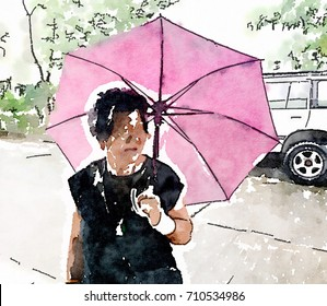 Old woman Wearing black clothes holding Pink Purple umbrella on street , Abstract Watercolor Line Art Background