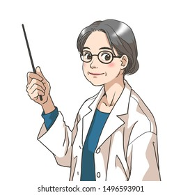 An old woman in a white coat explaining something