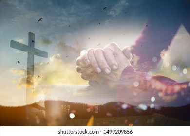 The old woman's closed hand is prayer and thank God.Christian Religion concept background.