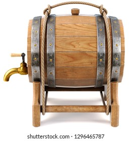 Old wooden barrel isolated on a white background. 3d illustration.