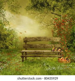 Old wooden bench in a village orchard