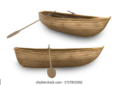 Old wooden boat, boat row empty, 3d render