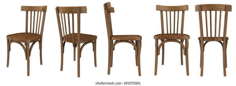 Old wooden chair isolated on white, 3d rendering