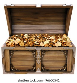 old wooden chest with gold coins. isolated on a white background.