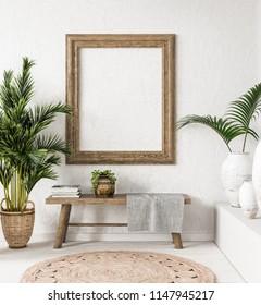 Old wooden frame mock-up in interior background,Scandi-boho style, 3d render