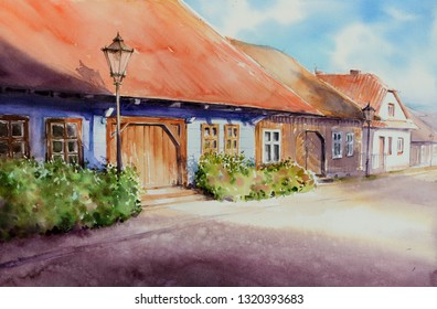 Old Wooden House Village of Lanckorona - Poland. Picture created with watercolors.