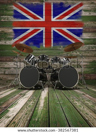 Old Wooden Interior Drums English Flag Stock Illustration Royalty