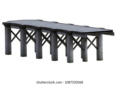 Old wooden jetty / Pier isolated on white, 3d render.
