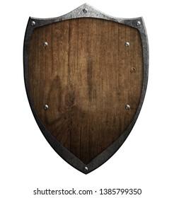 Old wooden medieval shield with metal frame 3d illustration