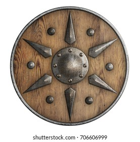 old wooden vikings' shield isolated 3d illustration