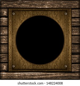 Old wooden wall photo frame digital composition.