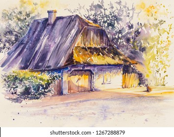 Old wooden white house in Lanckorona in Poland.Picture created with watercolors.