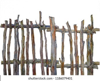 Old wooden wicker fence. Country wattle fence. Watercolor painting on a white background
