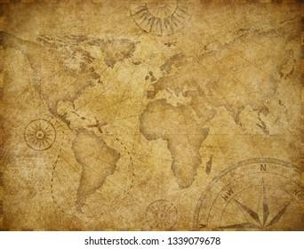Old world exploration map based on image furnished by NASA