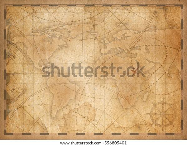 foto de Ilustración de stock sobre fondo del mapa del mundo antiguo 556805401