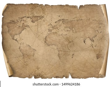 Old world map illustration isolated on white. Based on image furnished from NASA.