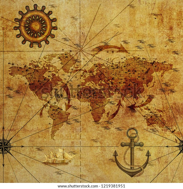 Old World Map Seamless Picture Wallpaper Stock Illustration 1219381951