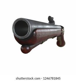 Old Worn Farmer Flintlock Pistol 3D rendering