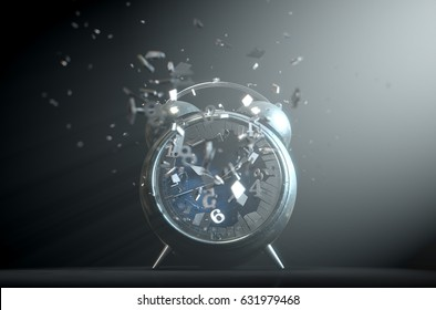 An old worn  metal vintage desk clock with its numbers smashing through the glass screen on a dramatic spotlit background- 3D Render