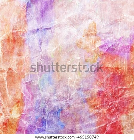 42b89601f5e2 old wrinkled paper background with vibrant watercolor paint wash  illustration in bright pink red orange purple and blue colors with white  faded wrinkles or ...