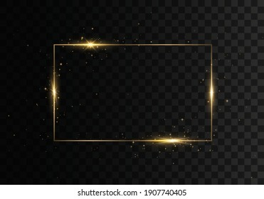 Olden luxury realistic rectangle border. Rectangular frame with lights effects. Glowing vintage gold frame with shadows isolated on transparent background.