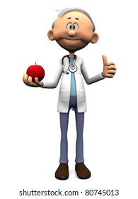An older friendly cartoon doctor wearing a stethoscope and holding an apple while doing a thumbs up with the other hand. White background.