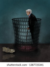 An older man with grey hair and a cane is seen inside a wastebasket in this illustration about the regard for older workers and elderly people.