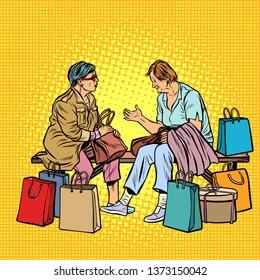 Older women girlfriends shopping. Pop art retro  illustration vintage kitsch
