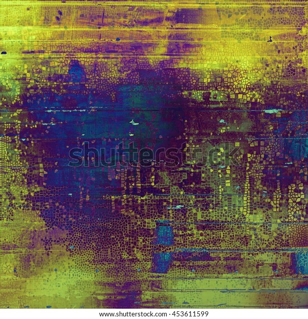 Oldest vintage background in grunge style. Ancient texture with different color patterns: yellow (beige); green; blue; purple (violet); cyan; pink