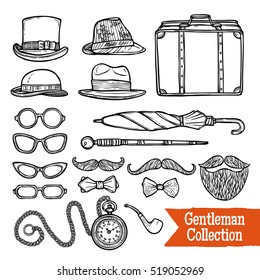 Old-fashioned gentleman accessories set with hats pipes umbrella and cane doodle style black abstract  illustration