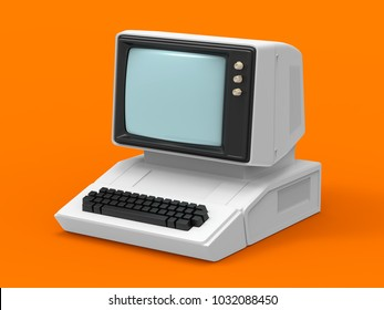 Old-fashioned personal computer vintage style. 3d illustration