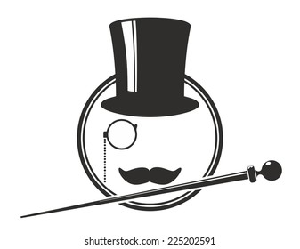old-fashioned sign with top hat, walking stick and moustache