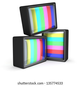 Old-fashioned televisions with a classic test pattern