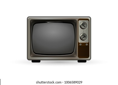 Old-fashioned TV. Vintage black and white television set. Hipster style tv.