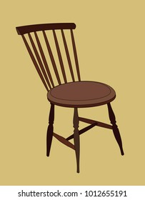 An Old Fashioned Wooden Chair On A Brown Background.