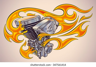Old-school styled tattoo of a flaming motorcycle engine. Raster image.