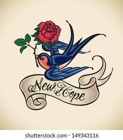 Old-school styled tattoo with a swallow, banner and rose.  Raster image. Check my portfolio for an editable version.