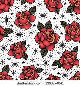 Oldschool Traditional Tattoo Vector illustration. Traditional stylized tattoo roses seamless pattern.