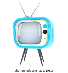 old-style fun televisor made of color plastic isolated on white