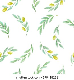 Olive branch hand drawn watercolor pattern on white background