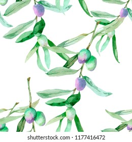 olive branches watercolor on white background seamless pattern for fabrics, paper, walpaper