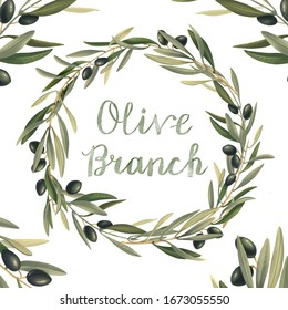 Olive decorative wreath. The green leaves create a botanical frame for the any purposes.