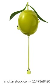 Olive with a drop of oil on white background.