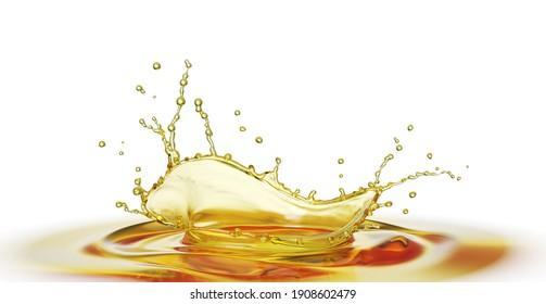 Olive or engine oil splash, cosmetic serum liquid isolated on white background, 3d illustration with Clipping path.