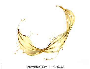 Olive or engine oil splash, Golden Cosmetic Liquid isolated on white background, 3d illustration with Clipping path.