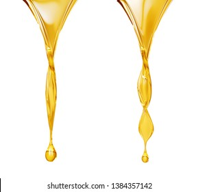 Olive or fuel Golden Oil drop, Cosmetic Liquid 3d rendering.