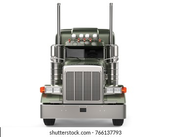 Olive green metallic big long haul truck - front view - 3D Illustration
